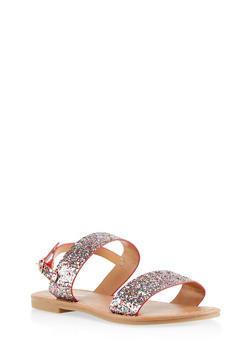 Girls 11-4 Glitter Double Strap Slide Sandals - 1737064790189