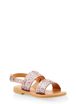 Girls 5-10 Glitter Two Band Sandals - 1737064790190