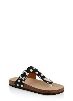 Girls 11-4 Polka Dot Thong Footbed Sandals - 1737064790193