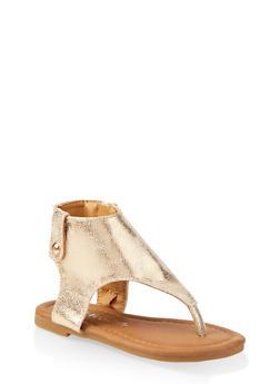 Girls 5-10 Metallic Cut Out Thong Sandals - 1737064790195