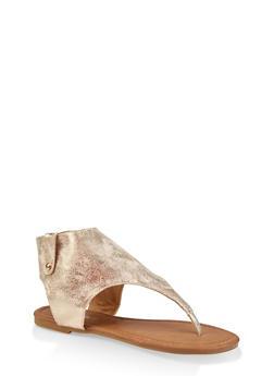 Girls 11-4 Metallic Cut Out Thong Sandals - 1737064790197