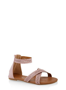 Girls 11-4 Laser Cut Criss Cross Sandals - 1737064790208