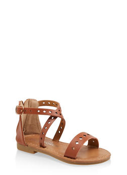 Girls 5-10 Metallic Laser Cut Sandals - 1737064790212
