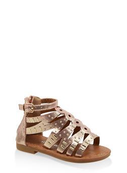 Girls 5-10 Laser Cut Studded Sandals - 1737064790217