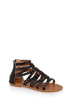 Girls 11-4 Zip Back Studded Sandals - 1737064790219