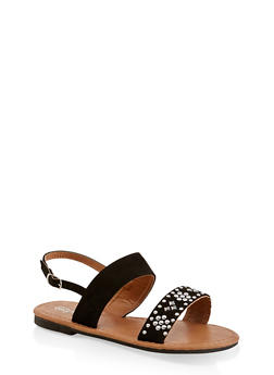 Girls 11-4 Two Band Studded Sandals - 1737064790220