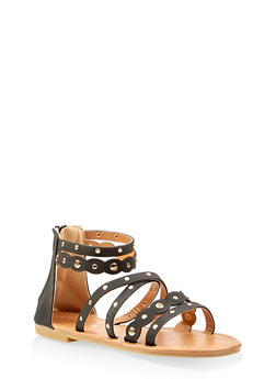 Girls 11-4 Studded Criss Cross Ankle Strap Sandals - 1737064790221