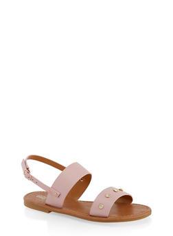 Girls 11-4 Rhinestone Studded Strap Sandals - 1737064790225