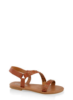 Girls 11-4 Studded Asymmetrical Strap Sandals - 1737064790226