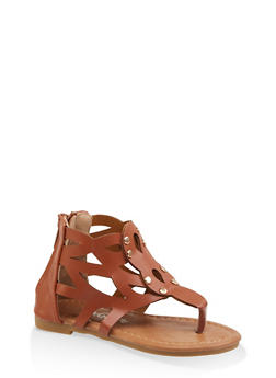 Girls 5-10 Studded Laser Cut Thong Sandals - 1737064790227