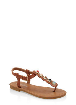 Girls 11-4 Studded Strap Thong Sandals - 1737064790234