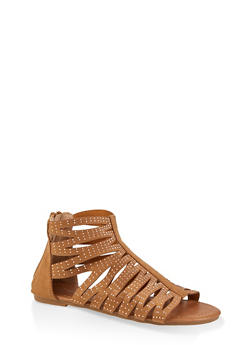 Girls 11-4 Studded Cut Out Zip Back Sandals - 1737064790235