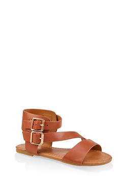 Girls 11-4 Asymmetrical Strap Buckle Sandals - 1737064790239
