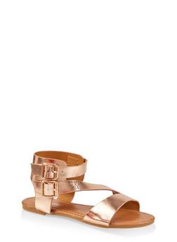 Girls 11-4 Asymmetrical Strap Buckle Sandals - 1737064790239