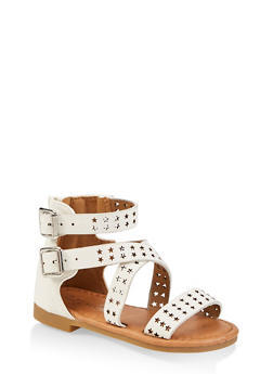 Girls 5-10 Star Laser Cut Sandals - 1737064790243