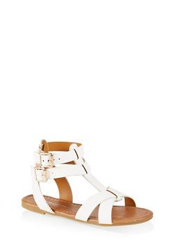 Girls 11-4 Buckle Criss Cross Sandals - 1737064790244