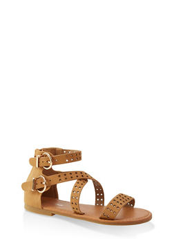 Girls 11-4 Perforated Star Sandals - 1737064790245