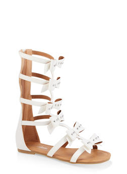 Girls 11-4 Tall Studded Bow Gladiator Sandals - 1737064790247