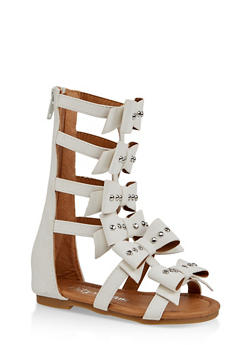 Girls 5-10 Tall 6 Bow Gladiator Sandals - 1737064790249