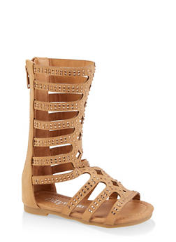 Girls 11-4 Studded Laser Cut Tall Gladiator Sandals - 1737064790254