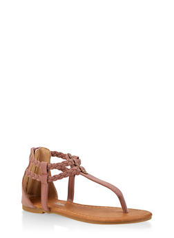 Girls 11-4 Braided Ankle Strap Thong Sandals - 1737064790257