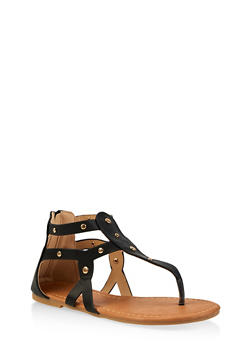 Girls 11-4 Studded Cut Out Thong Sandals - 1737064790259