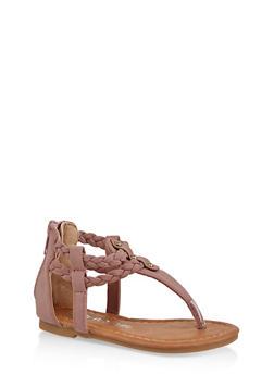 Girls 5-10 Braided Strap Sandals - 1737064790261