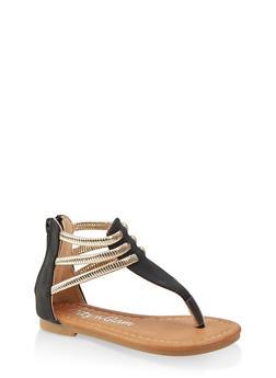 Girls 5-10 Metallic Ankle Strap Thong Sandals - 1737064790268
