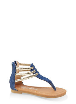 Girls 5-10 Metallic Ankle Strap Thong Sandals - 1737064790268