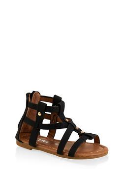 Girls 5-10 Studded Zip Back Gladiator Sandals - 1737064790269