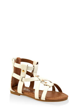 Girls 5-10 Studded Zip Back Gladiator Sandals - 1737064790269