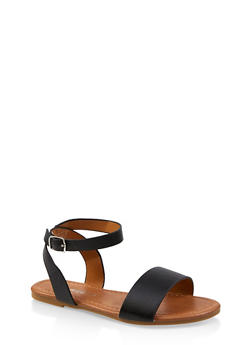 Girls 11-4 Single Band Ankle Strap Sandals - 1737064790270