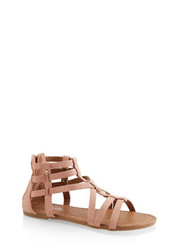 Girls 11-4 Studded Criss Cross Gladiator Sandals - 1737064790271