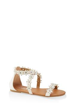Girls 11-4 Rhinestone Flower Sandals - 1737064790272