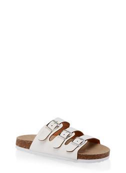 Girls 11-4 Triple Buckle Footbed Sandals - 1737064790275