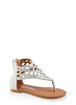 Girls 5-10 Rhinestone Laser Cut Thong Sandals - 1737064790278