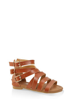Girls 5-10 Strappy Triple Buckle Sandals - 1737064790280