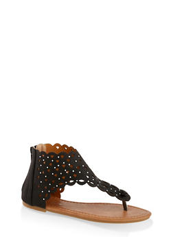 Girls 11-4 Rhinestone Studded Laser Cut Sandals - 1737064790281