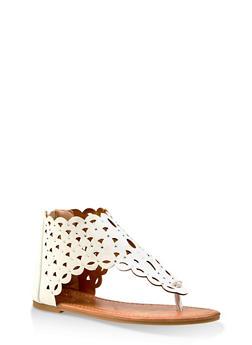 Girls 11-4 Rhinestone Studded Laser Cut Sandals - 1737064790281