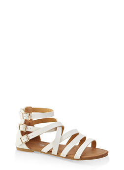 Girls 11-4 Triple Ankle Strap Sandals - 1737064790283