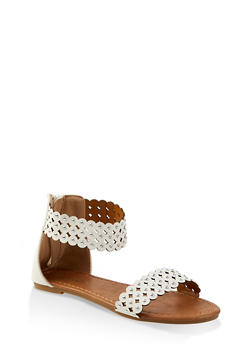 Girls 11-4 Studded Laser Cut Ankle Strap Sandals - 1737064790288