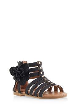 Girls 5-10 Studded Flower Detail Gladiator Sandals - 1737064790289