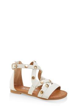 Girls 5-10 Studded Criss Cross Strap Sandals - 1737064790292
