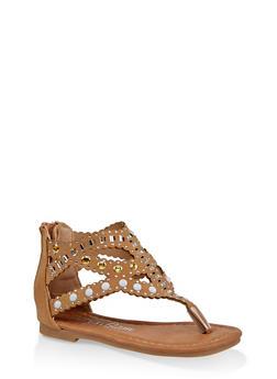 Girls 5-10 Laser Cut Rhinestone Studded Sandals - 1737064790296