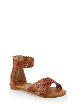 Girls 5-10 Laser Cut Zip Back Sandals - 1737064790303
