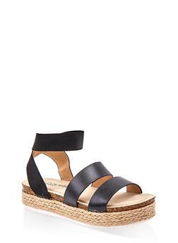 Girls 12-4 Elastic Ankle Strap Sandals - 1737064790479