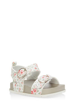 Girls 6-10 Floral Footbed Sandals - 1737065690345