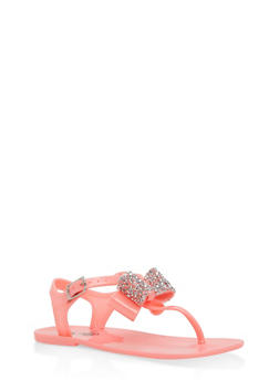 Girls 11-3 Jeweled Bow Sandals - 1737065690402