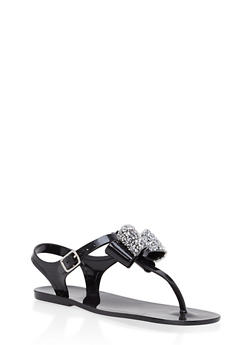 Girls 11-3 Rhinestone Bow Jelly Thong Sandals - 1737065690403