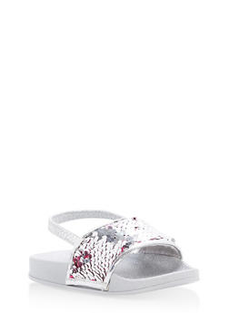 Girls 5-10 Reversible Sequin Slingback Slides - 1737065690411